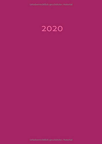 2020: dicker TageBuch Kalender - HIMBEERE (pink) - 1 Tag pro DIN A4 Seite