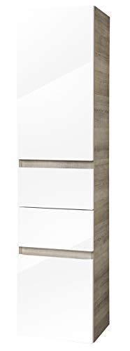 FACKELMANN Hochschrank PIURO/Soft-Close-System & gedämpfte Scharniere/Maße (B x H x T): ca. 40 x 161 x 30,5 cm/hochwertiger Schrank/Türanschlag frei wählbar/Korpus: Braun hell/Front: Weiß Hochglanz