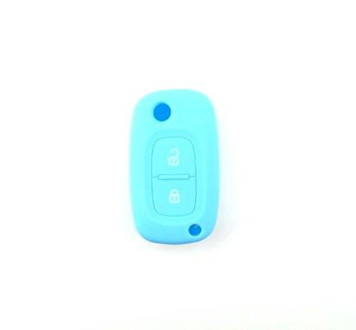 Brightparts® Silikon Schlüsseletui Hülle Etui Schlüssel Cover für Renault mit 2 Tasten Schlüssel (Hellblau)