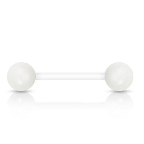 viva-adorno® Barbell Piercing Stab Zungenpiercing Kunststoff Acryl Kugeln verschiedene Farben Z312, Weiß
