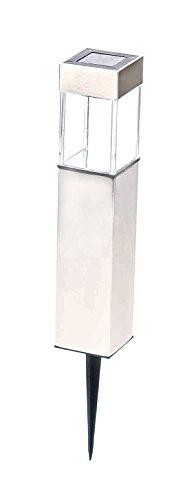 Grundig! Edelstahl Solarleuchte, Power LED, modernes Design, Dämmerungsautomatik, schaltbar, eckig, Höhe ca. 40 cm