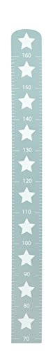 roba Messlatte 'Little Stars' mit Sterne Motiv, Wachstumsmesser mit Skala bis 160 cm für Kinder, Messleiste aus Holz, grau
