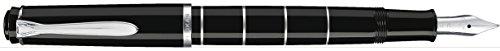 Pelikan 948448 Kolbenfüllhalter Classic M215 Ringe, Edelstahlfeder, F, schwarz/silber