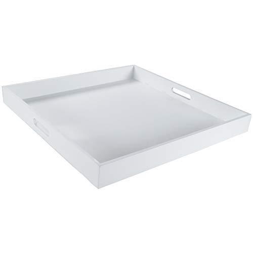 DRULINE XXL Tablett Holztablett Kerzentablett Holz Shabby Chic Landhaus groß (Weiß)