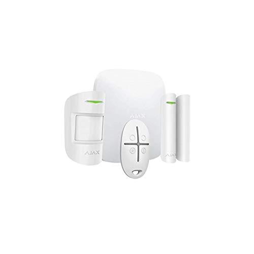 AJAX Kit de alarma AJHUBK - Kit antirrobo inalámbrico (GSM + Ethernet) hasta 100 dispositivos, compuesto de centralita, detector PIR, contacto magnético y mando a distancia - (blanco)