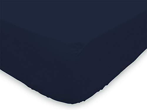 Soleil d'Ocre 613823 Drap Housse coton 57 Fils Marine 140 x 190 cm