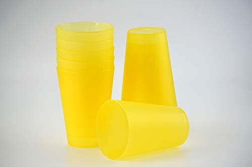 S&S-Shop 10 Plastik Trinkbecher 0,4 l - gelb - Mehrwegtrinkbecher/Partybecher / Becher