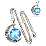 HITSAN INCORPORATION European and American Fashion Starry Sky Moon Gem Pisces Constellation Necklace