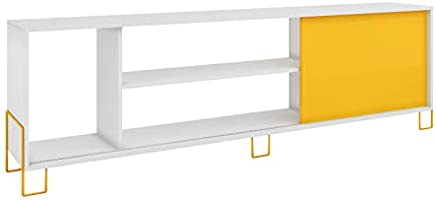 BRV Moveis TV Table With Three Open Shelves And One Cabinet for 50 inch TV, White and Yellow, Size: 56 x 180 x 29.4 cm