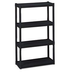 ** Rough N Ready 4 Shelf Open Storage System, Resin, 32w x 13d x 54h, Black by 5COU - Open Storage-system