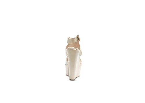 Justglam - Sandales à bout ouvert avec des sangles et cale superlight doivent avoir la nouvelle collection made in Italy Beige