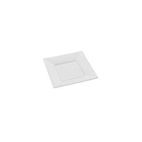 8 assiettes carrées plastique blanches 23x23 cm