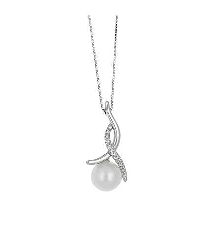 Gioielli di Valenza Collana in Oro Bianco 18k con Intreccio Perla e Diamanti