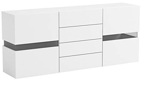 Vladon Sideboard Kommode Flow, Korpus in Weiß matt/Front in Weiß Hochglanz inkl. LED Beleuchtung