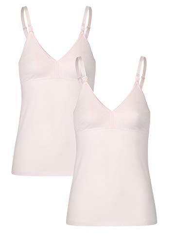 Herzmutter Stilltop-Stillshirt-Unterhemd für Damen zum Stillen, aus Baumwolle-Modal, integriertes Bustier mit Clip-Verschlüssen, Schwarz-Weiß (5400) (M, 2X Rosa, 2er Pack)