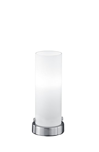 lightling Basic Tischleuchte Steffi LED-Touch Zylinder in nickel matt, Glas weiß matt, 1 x E14 4 Watt LED Leuchtmittel inklusive, ø 8.5 cm, Höhe 21 cm -