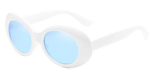 BOZEVON Retro Ovale Sonnenbrille - UV400 Schutzbrillen für Damen & Herren Weiß-Blau