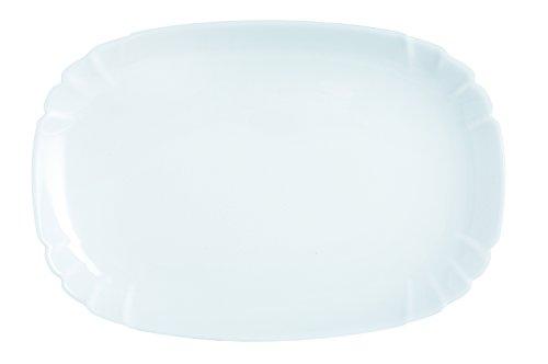 Dajar Servierteller Lotusia 34 cm LUMINARC, Glas, Weiß, 34 x 23,2 x 2,2 cm