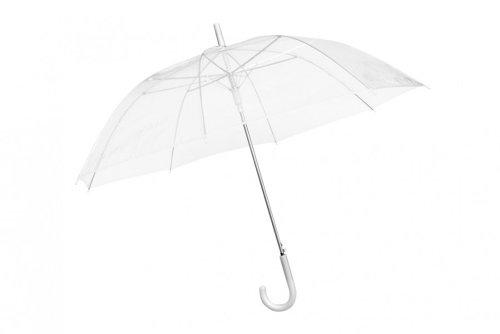 Durchsichtiger Regenschirm transparent, weißer Stockschirm