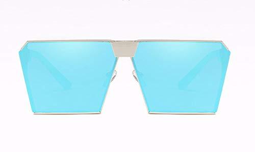 WSKPE Sonnenbrille,Metallische Sonnenbrille Unisex Sonnenbrille Silver Frame EIS Fahren,Blaue Linse