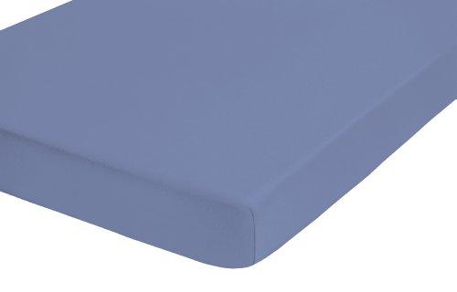 Castell, 77113/256/040, Lenzuolo con angoli in Jersey elasticizzato, con certificato Öko-Tex Standard 100, Blu (ozeanblau), 90 x 190 e 100 x 200 cm