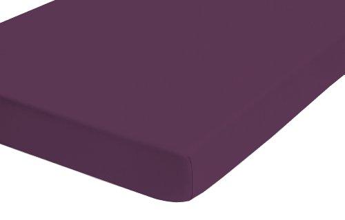 flanell spannbettlaken biberna 77866 Jersey-Elastic Spannbetttuch, nach Öko-Tex Standard 100, ca. 120 x 200 cm bis 130 x 220 cm, weinrot