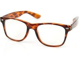 Eyewear World Brille mit braunem Rahmen, klare Gläser, gratis gelbe Kordel
