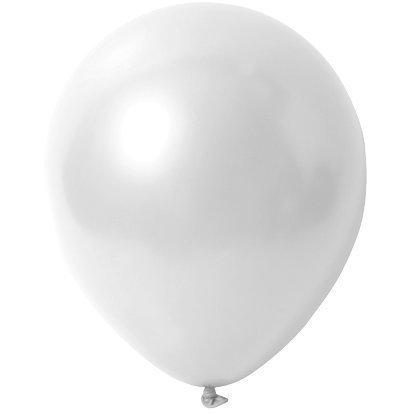 partydiscount24 Luftballons Weiß - Metallic (Glänzend) - Ø 30 cm 50 Stück