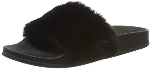 Apika pantofola di pelliccia del faux flop delle donne fuzzy fluffy comfy sliders aprire la punta slip on(eu40 nero)
