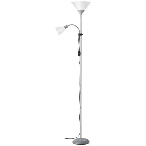 Brilliant 93008/05 Spari 4 Lampadaire à 2 Lumières 60 W E27 230 V Argent/Blanc