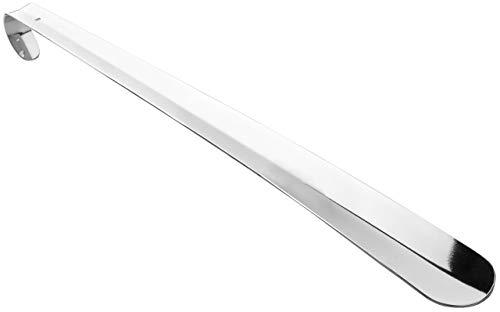 Lantelme 3222 Metall Schuhanzieher 70 cm lang verchromt - Schuhlöffel - Schuhanziehhilfe sehr stabil, 36 37 38 39 40 41 42 43 44 45 46, Silber