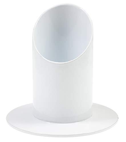 everlar® Edler Kerzenständer | 4 cm ø | Handgearbeitete Qualität | Kerzenhalter für Taufkerze, Kommunionkerze, Stabkerze, Stumpenkerze, Tafelkerze, Traukerze, Trauerkerze u.a. | Metall Weiß