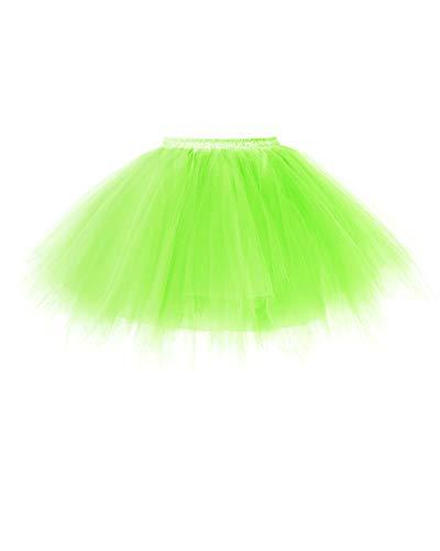 bridesmay Tutu Damenrock Tüllrock 50er Kurz Ballet Tanzkleid Unterkleid Cosplay Crinoline Petticoat für Rockabilly Kleid FluorescenceGreen M