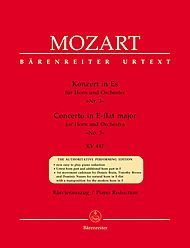 BARENREITER MOZART W.A. - CONCERTO N°3 IN E-FLAT MAJOR KV 447 FOR HORN AND ORCHESTRA - HORN, PIANO Classical sheets Horn