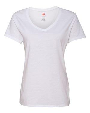 Hanes Women's Nano-T® V-Neck T-Shirt M White (Womens Tee Einlaufvorbehandelt)