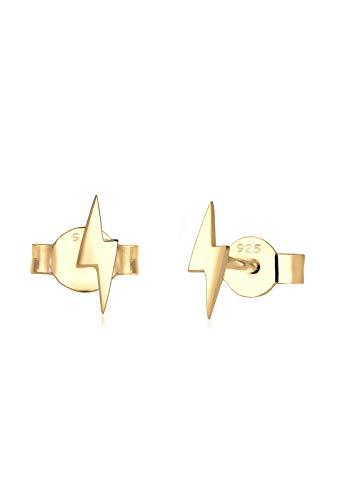 Elli Damen-Ohrringe Blitz Flash Stardust Trend Symbol Energie vergoldet silber 925 0312341416