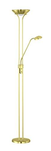 Elegante LED Stehleuchte in Messing matt Schwarz 17W 230V aus Metall & Kunststoff Dimmer flexibler Arm Deckenfluter Stehleuchte mit Lesearm Schlafzimmer Wohnzimmer Lampe Leuchten Beleuchtung innen
