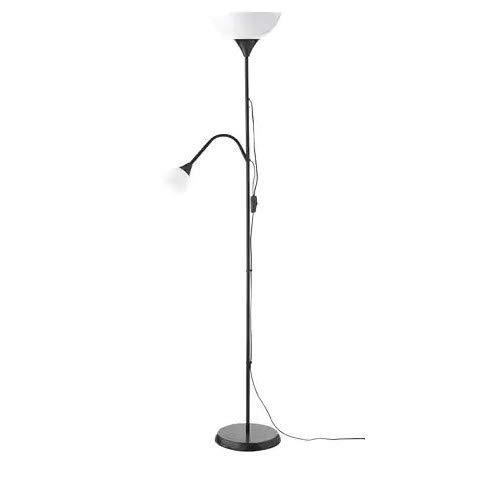 Ikea NOT–Lámpara de pie con lámpara de lectura plástico negro, 176cm