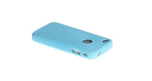 wortek® Silikon Schutzhülle geriffeltes Kreismuster extra Grip Apple iPhone 4 / 4S Schwarz Silikon - Türkis