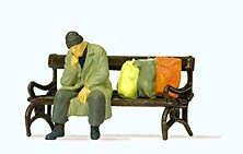 Preiser 29094 H0 Obdachloser auf Bank