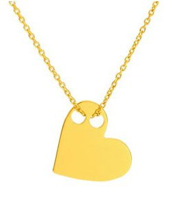Ah! Jewellery HOT Celebrity Layered Style Heart Asymmetric Necklace 24K Gold over Sterling Silver. Simple & Stunning! 1.5cm Pendant / 45cm Chain. Stamped 925. 10 Year Guarantee.