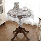 Couverture de table rectangulaire élégante de dentelle brodée par nappe blanche de dentelle pour le décor à la maison, 80 * 80CM