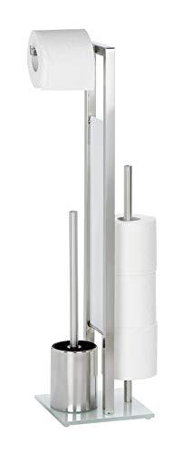 WENKO Stand WC-Garnitur Rivalta, mit integriertem Toilettenpapierhalter und WC-Bürstenhalter, in rostfreier Edelstahl-Qualität, Maße (HBT): 70x23x18 cm, Silber matt