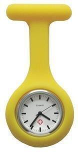 Boolavard TM Orologio da infermiere in silicone con spilla - orologio tascabile GIALLO