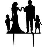 Silhouette pour gâteau de mariage Marié et mariée avec deux enfants, acrylique décoration pour gâteau anniversaire motif silhouette main en main Membres de la famille
