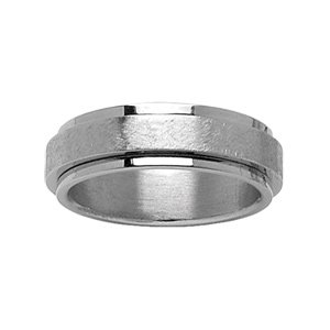 1001 Bijoux - Alliance acier anti stress et bandeau satiné - tour de doigt 56