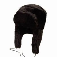 NEW BLACK FUR TRAPPER RUSSIAN COSSACK USHANKA SKI HAT