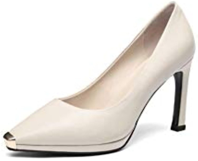 HOESCZS Scarpe da Donna Autunno Heeled Square Head Stiletto Leather Leather Platform Scarpe da Donna Scarpe da... | Vari disegni attuali  | Uomini/Donne Scarpa