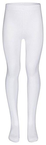 tanzmuster Kinder Ballett Strumpfhose Lena mit Fuß und ohne Zwickel in weiß, Größe 134-146 - Nylon Zwickel Weiß Kurze