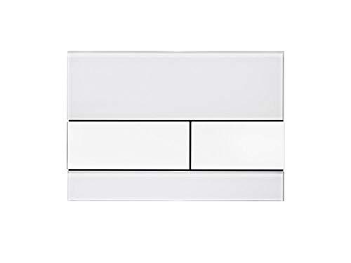 Tece 9.240.800 Square Betätigungsplatte für WC (Glas, Tasten weiß, Zweimengentechnik, bedienbar von Oben und vorne) 9240800 Square Glas
